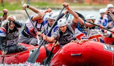 GB Mens and GB Masters challenge at the start of the downriver